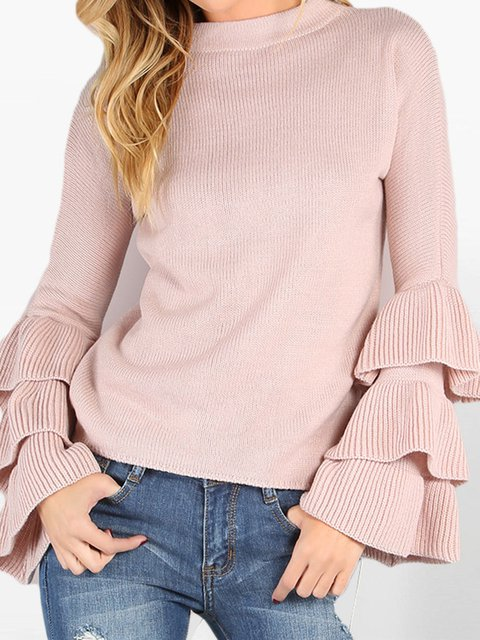 Pink Knitted Frill Sleeve Solid Sweater