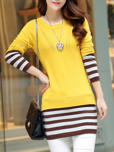 Sheath Long Sleeve Stripes Knitted Casual Sweater