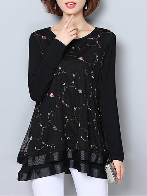 Tiered Long Sleeve Floral Casual  Blouse