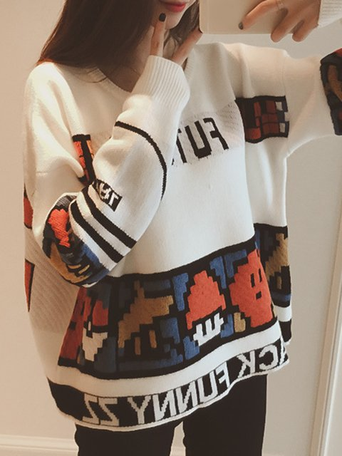 H-line Knitted Long Sleeve Letter Sweater