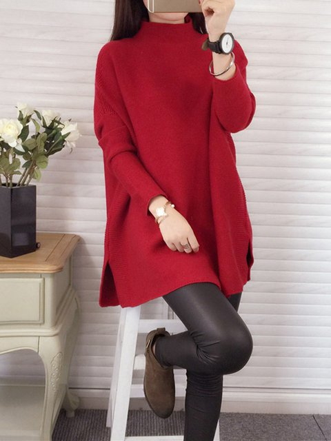 0e5acba2122 Turtleneck Sleeve Knitted Long Slit Casual Sweater 1aSffI--household ...