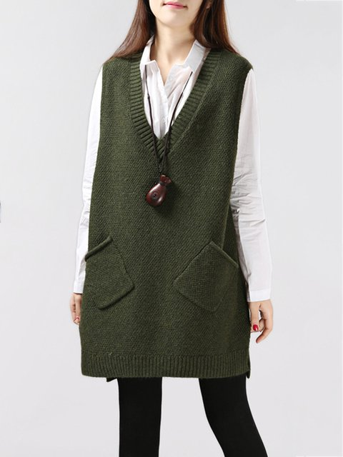 V Neck Pockets Knitted Casual Sleeveless Sweater
