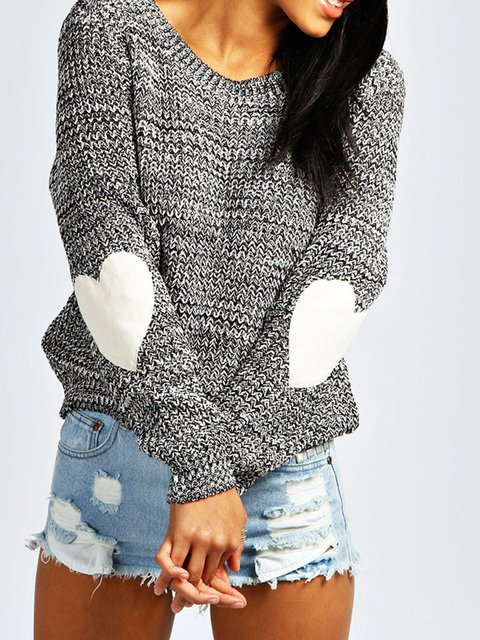 Patch Long Sleeve Knitted Casual Sweater