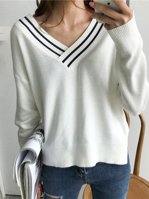 Knitted Long Sleeve Casual High Low Sweater
