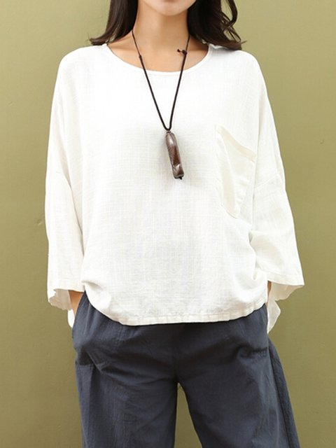 White Solid Long Sleeve Pocket H-line T-Shirt