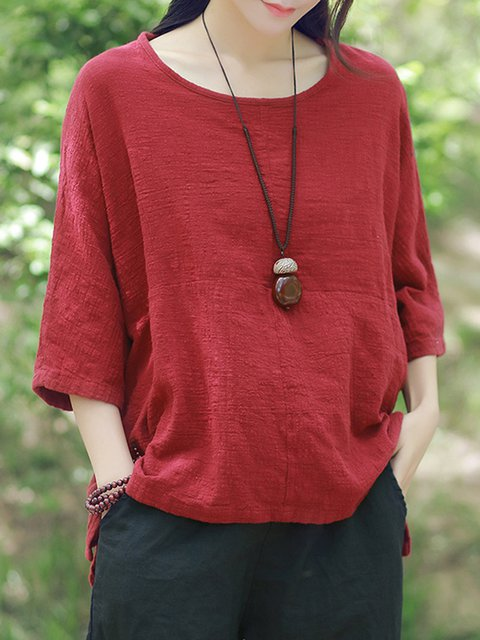 Crew Neck 3/4 Sleeve Casual H-line T-Shirt