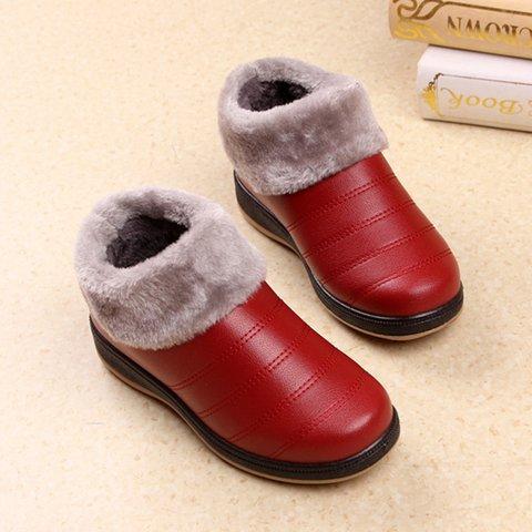Fleece-lined Ankle Slip-On Women PU Boots