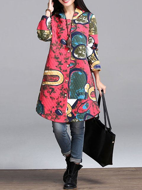 Hoodie Asymmetrical Pockets Coat Winter Buttoned Graphic Printed C5qw66