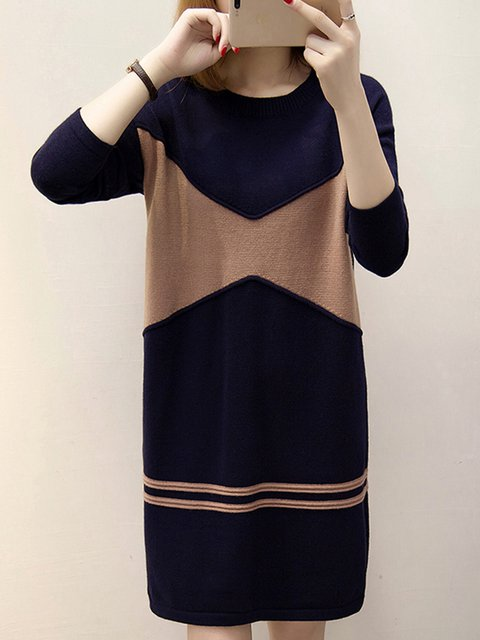 Knitted Color-block Long Sleeve  Sweater