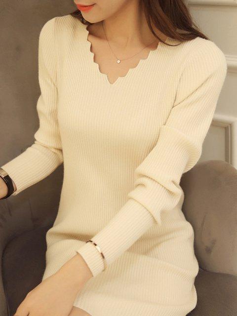 V neck  Sheath Women Long Sleeve Casual Knitted Plain Casual Dress