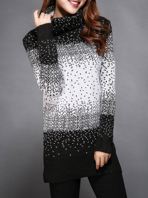 Knitted Long Sleeve Turtleneck Color-block Plus Size Sweater