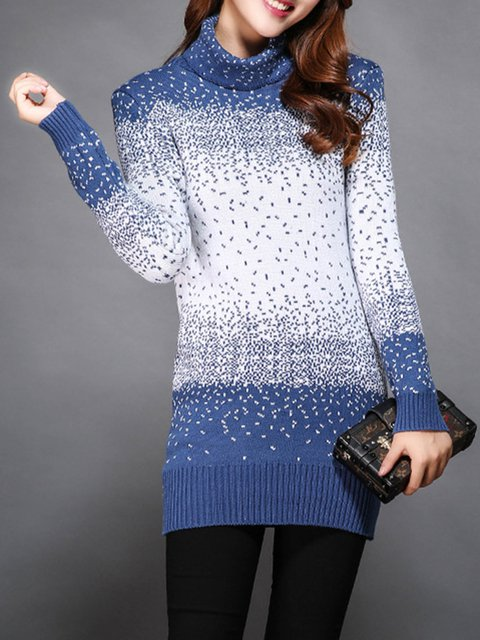 Blue Color-block Knitted Casual Plus Size Sweater