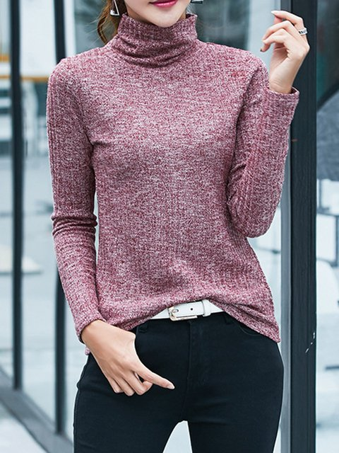Solid Knitted Casual Turtleneck Plus Size Sweater