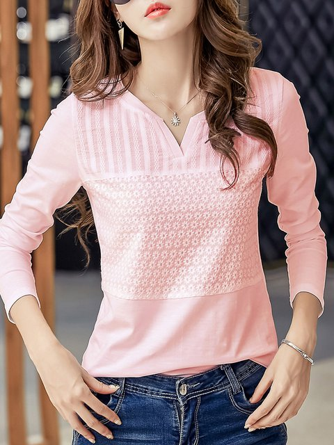 Solid Long Sleeve Casual V Neck  T-Shirt