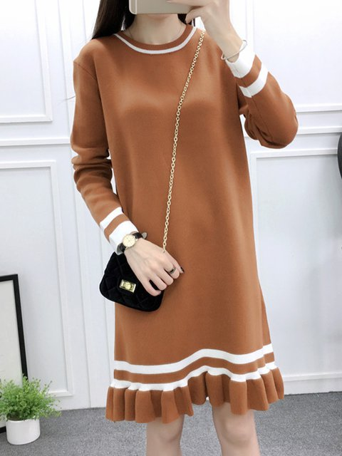 Camel Flounce Women Long Sleeve Casual Knitted Striped Casual Dress