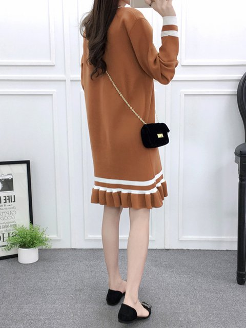 Women Striped Casual Sleeve Flounce Long Casual Dress Knitted Camel gRUvqwW