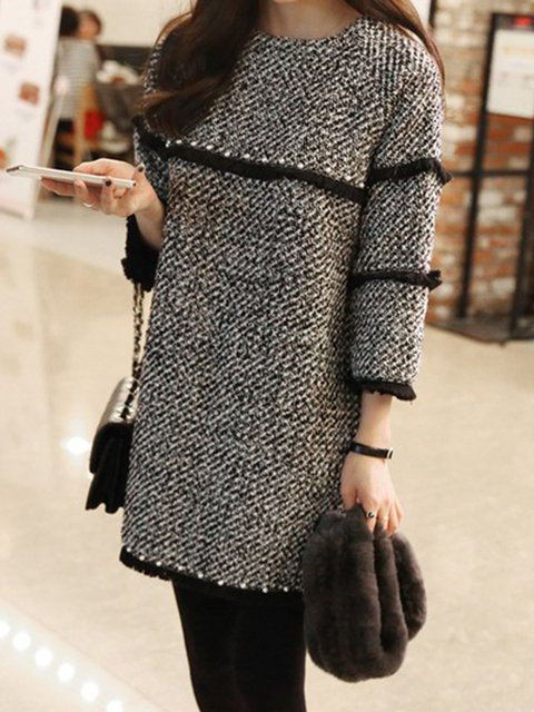 Gray Women Casual 3/4 Sleeve Knitted Gingham Elegant Dress
