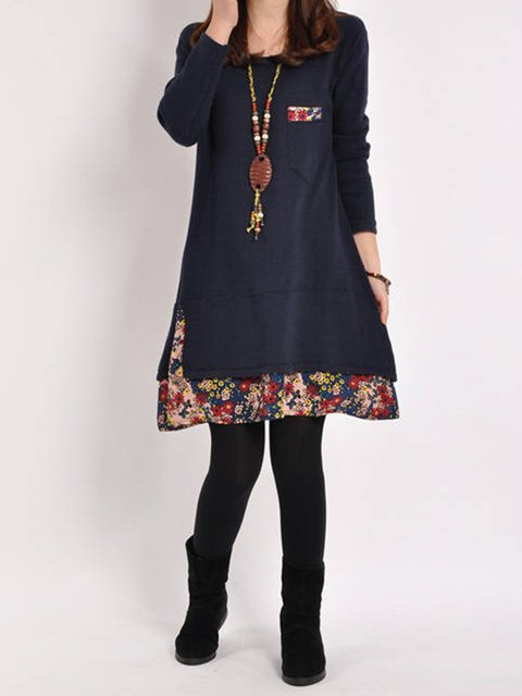 A-line Women Daily Casual Long Sleeve Paneled Floral Casual Dress