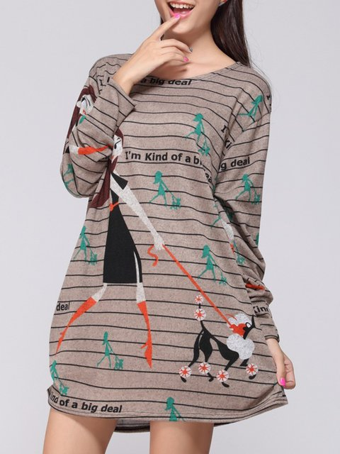 Khaki Cocoon Women Acrylic Casual Long Sleeve Printed Striped Casual Dress