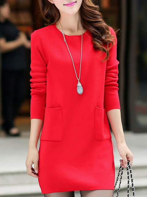 Shift Women Daytime Long Sleeve Casual Pockets Solid Casual Dress