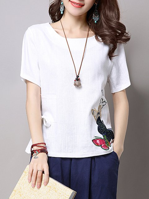 Pockets Linen White T Shirt Bow Shift Animal Embroidered SEwwUdq
