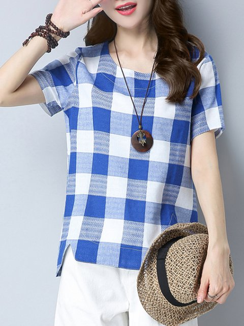 Blue Linen Crew Neck Checkered/Plaid Casual T-Shirt