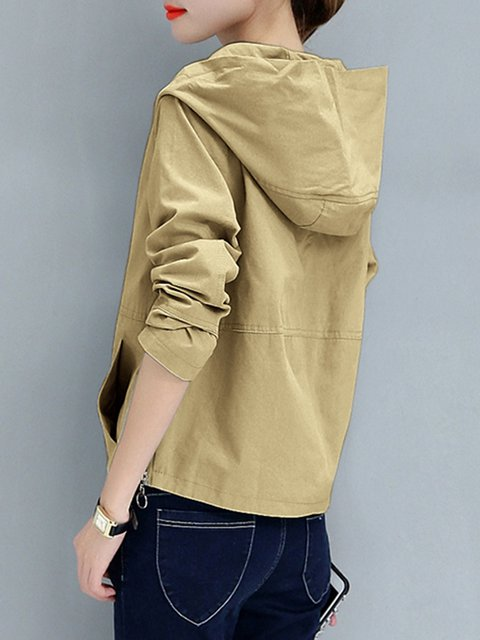Pockets Zipper Plain Sleeve Jacket Hoodie Long Casual Cotton xnHqU8w