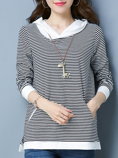 Black Long Sleeve Stripes Hoodie  T-Shirt