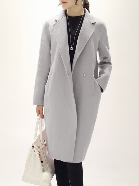 Gray Pockets Wool-blend Casual  Coat