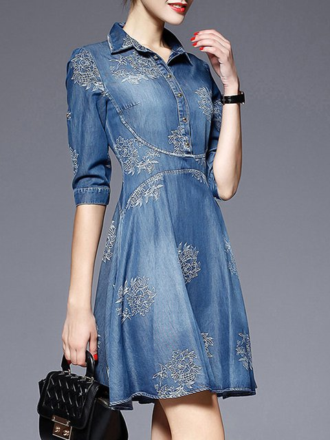 Shirt Collar Blue A-line Women Daily Long Sleeve Denim Embroidered Floral Casual Dress