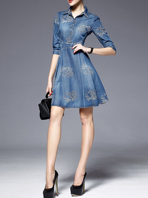 28f19dfebb0 Shirt Collar Blue A-line Women Daily Long Sleeve Denim Embroidered Floral  Casual Dress