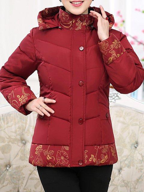 Shift Red Winter Pockets Cotton Coat Size Hoodie Plus rRq7rw