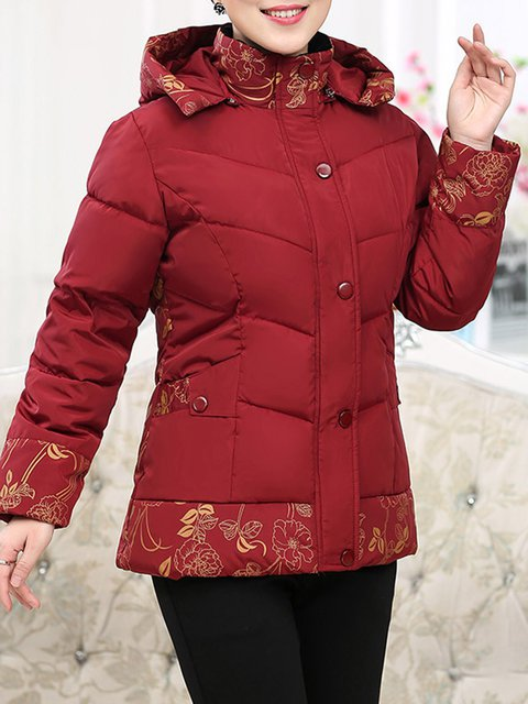 Cotton Winter Pockets Shift Size Coat Hoodie Red Plus TzgHxqpw