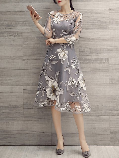 plus size women elegant aline printed floral gray party