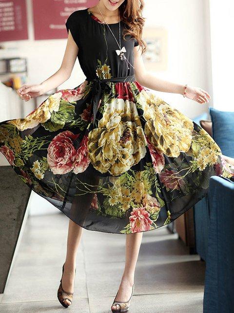 Swing Women Daytime Elegant Chiffon Printed Floral Elegant Dress