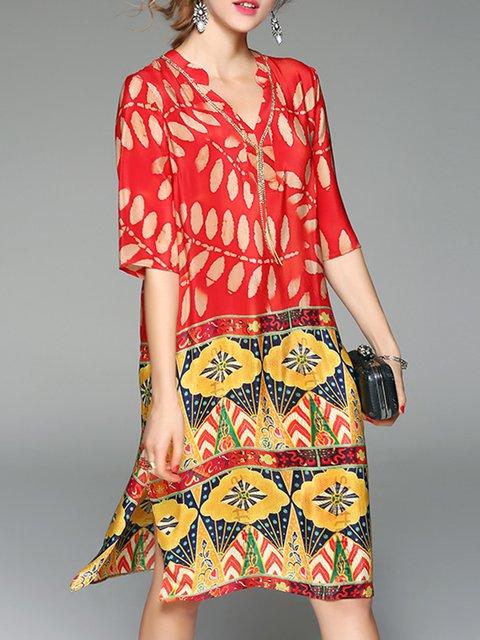 V neck Red Shift Women Daytime Casual Half Sleeve Slit Leaf Elegant Dress