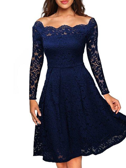 Bateau/boat neck  A-line Women Party Elegant Long Sleeve Guipure lace Floral Prom Dress