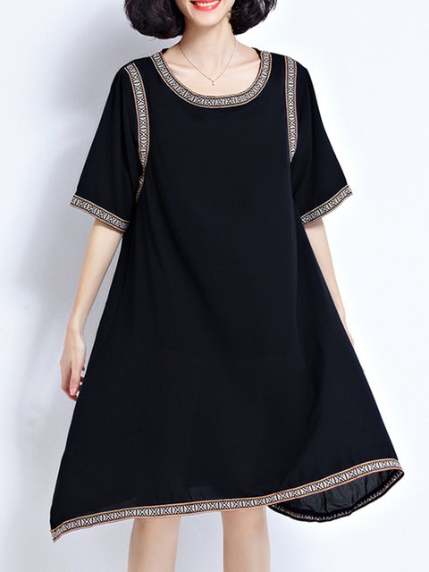 Black Asymmetrical Women Daytime 3/4 Sleeve Casual Paneled  Casual Dress