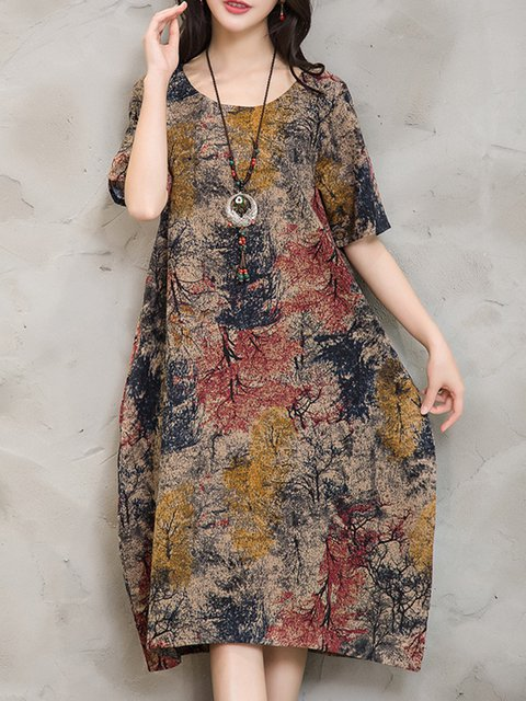 Yellow Cocoon Women Going out Linen Half Sleeve Abstract Casual Dress