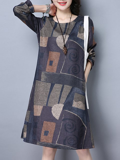 6035ac833d1 Purple A-line Women Daytime Long Sleeve Casual Printed Abstract Casual Dress