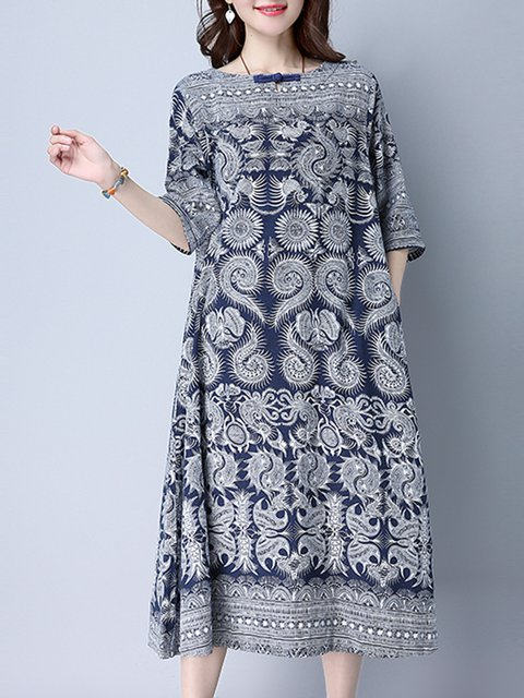 Navy Blue Women Daily Vintage 3/4 Sleeve  Casual Dress