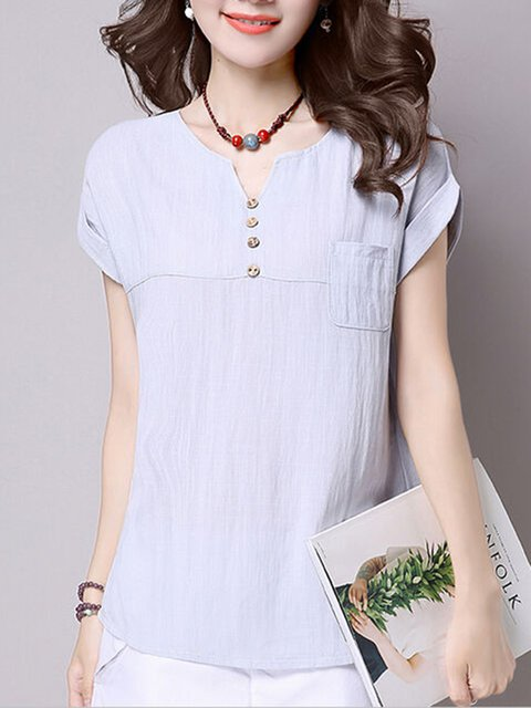 Short Sleeve Casual Pockets T-Shirt