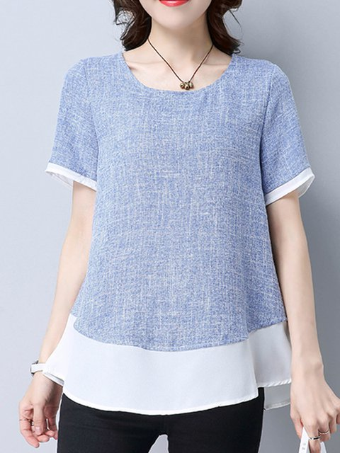 Blue Casual Shift Crew Neck Linen Plus Size T-Shirt