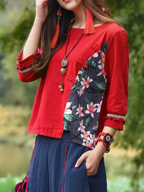 Shirt 4 Linen T Floral Vintage Sleeve 3 Red Buttoned 5Xwq188R
