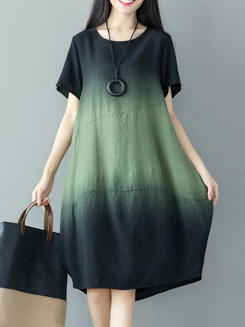 Green Cocoon Women Going out Cotton Casual Printed/Dyed Ombre/Tie-Dye Casual Dress