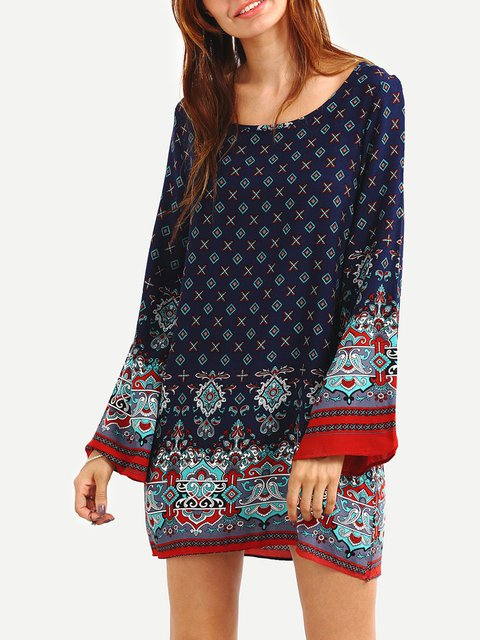 A-line Women Holiday Bell Sleeve Boho Tribal Floral Dress