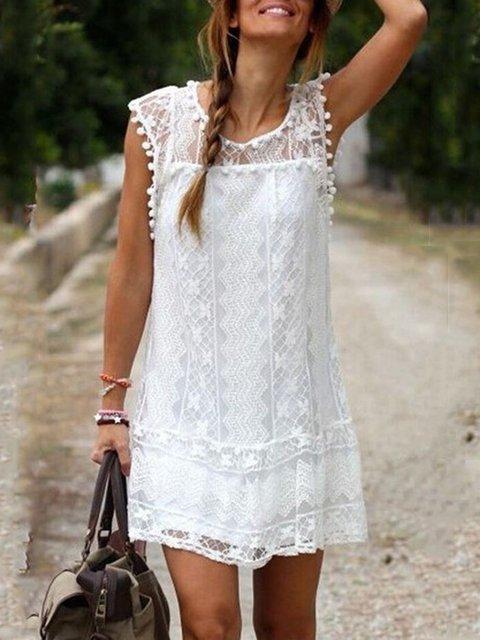 Plus Size Women  A-line Holiday Boho Lace  Floral Dress