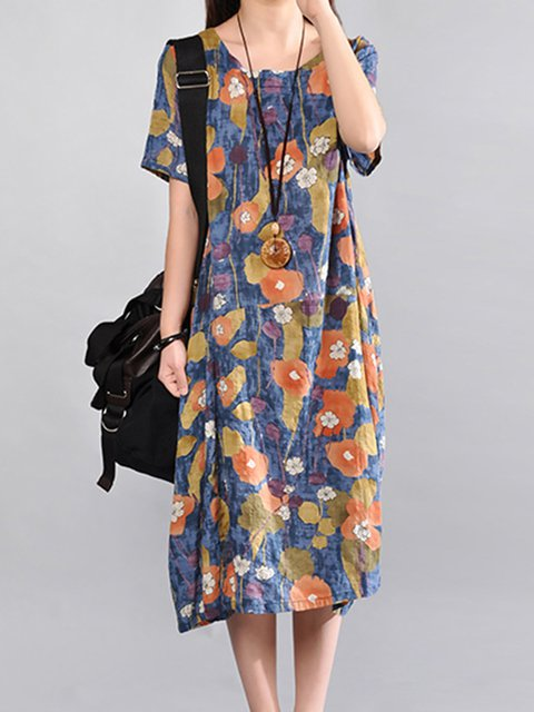 Casual Floral Cotton Dress Sleeve Cocoon Women Short Printed Casual wqxHZzI