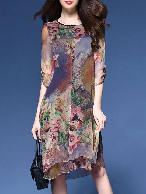 Multicolor Women Daytime 3/4 Sleeve Elegant Printed Floral Elegant Dress