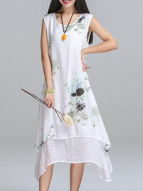 Green Asymmetrical Women Sleeveless Cotton Casual Floral Elegant Dress